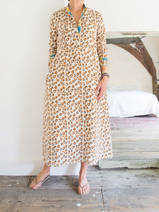Long kurta - cream with brown and ocher 'panther' pattern