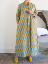 Long kurta - sea green with ocher tiger motif