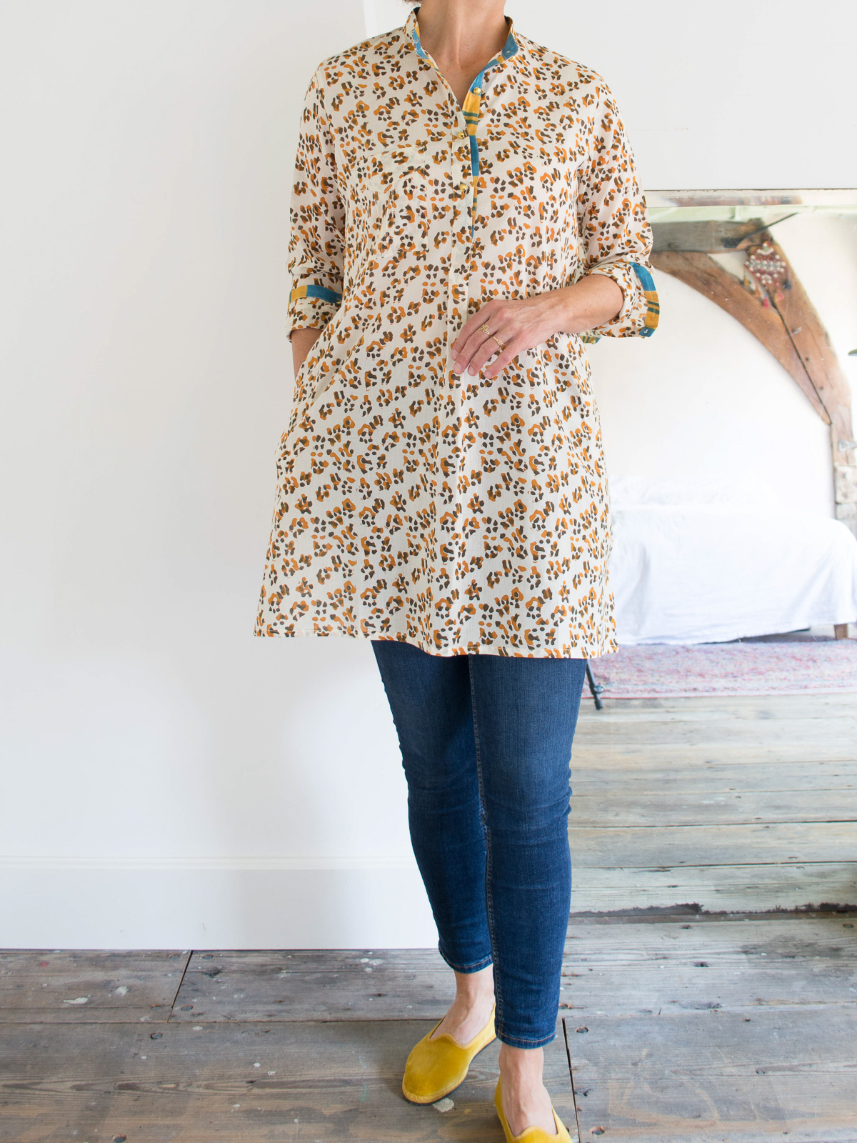 short kurta - cream with brown and ocher 'panther' pattern