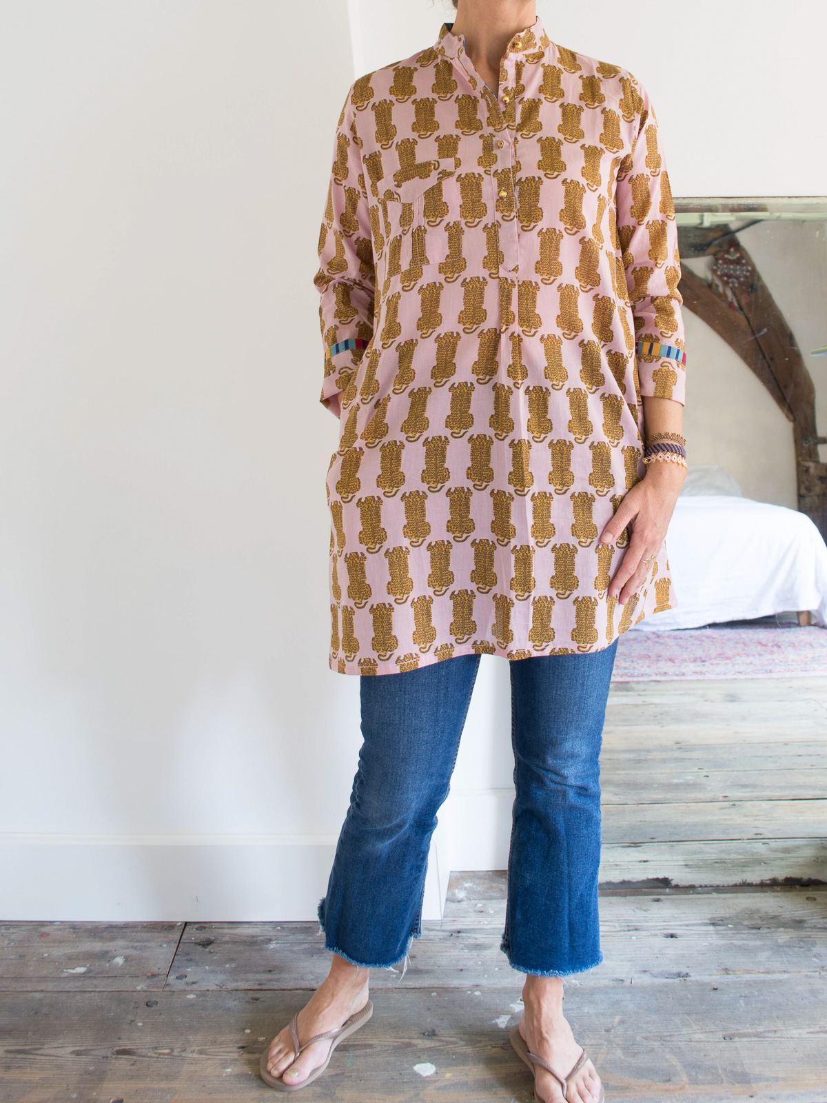 short kurta - pale pink with tigers in ocher