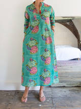 Long kurta - green with pink and light green hydrangea, blue butterflies