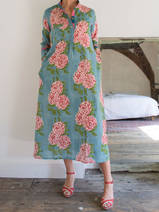 Long kurta - sea green with peonies in white, pink and red