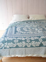 bedspread with flower pattern Cicek, petrol