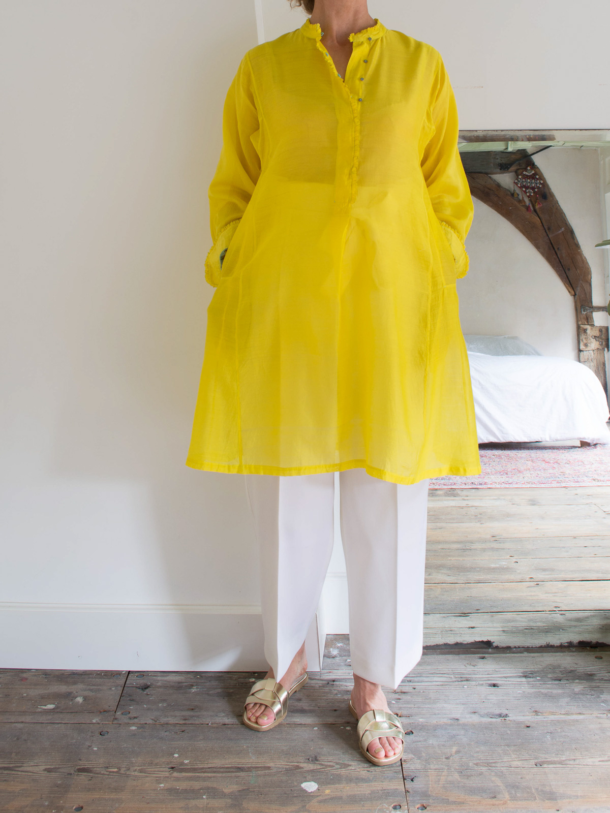 long shirt in bright yellow silk and cotton
