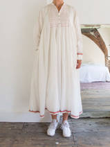 long wide dress in unbleached cotton