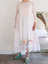 half-length dress  in white cotton and silk