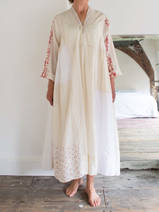 loose fitting maxi-dress in unbleached cotton and silk