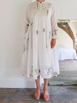 hand blockprinted mid-length dress of fine cotton
