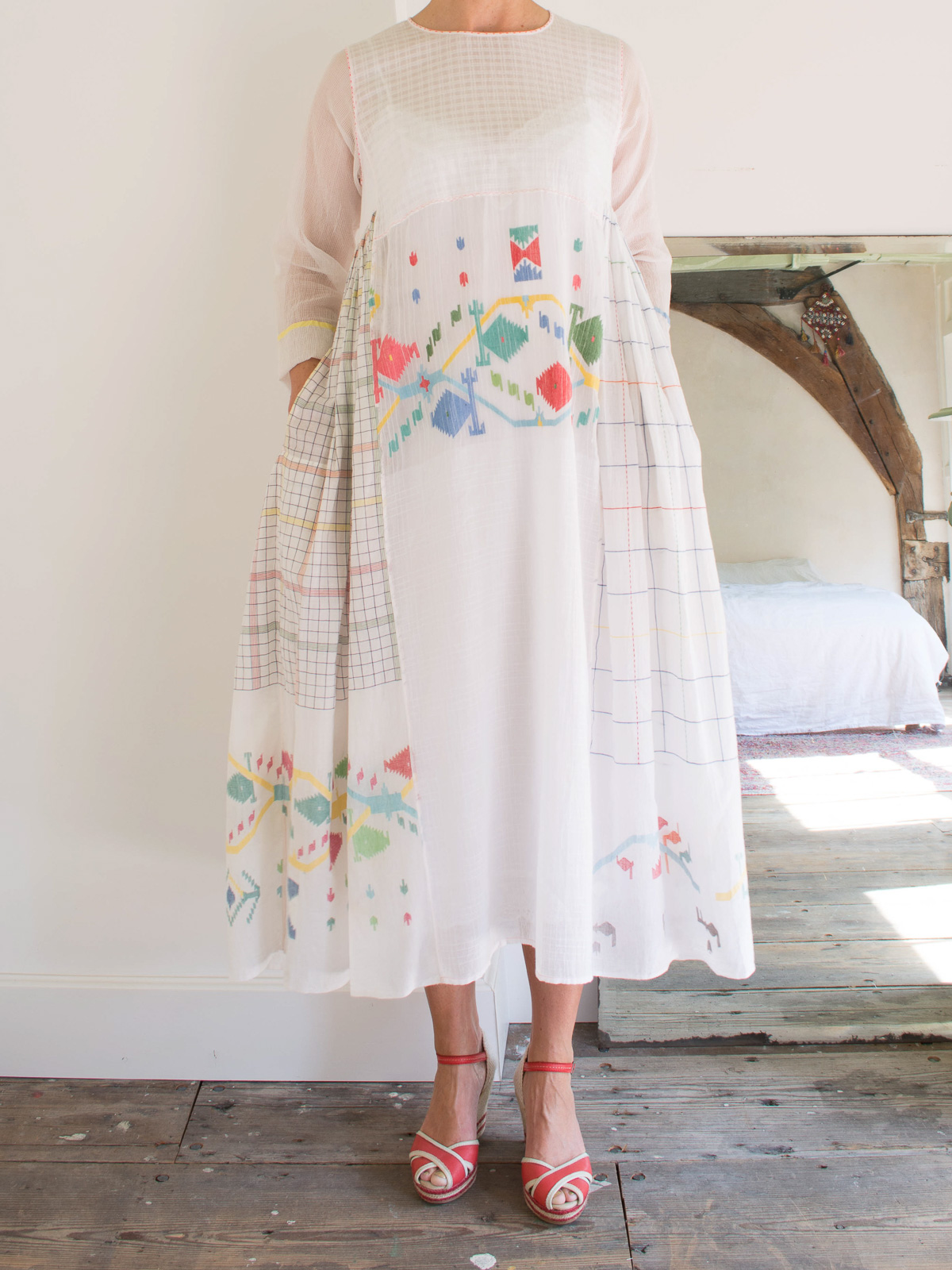 half-length dress  in white cotton