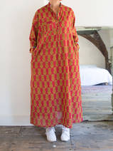 Long kurta - red with ocher tigers