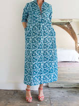 Long kurta - light turquoise with petrol arabesque motif