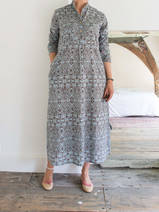 Long kurta - light grey-blue with grey-brown damask motif