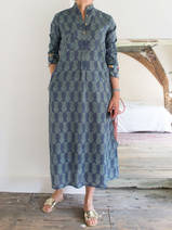 Long kurta - grey-blue with sea green tigerpattern
