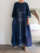 loose fitting maxi-dress in indigo silk and cotton