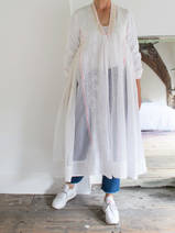half-length open dress  in white cotton and silk