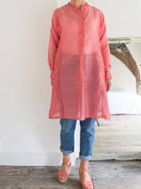 long shirt in pink silk and cotton