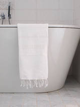 hammam towel white/shiny white stripe