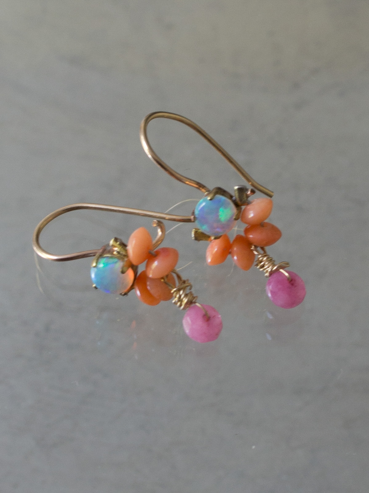 earrings Dancer coral and opal