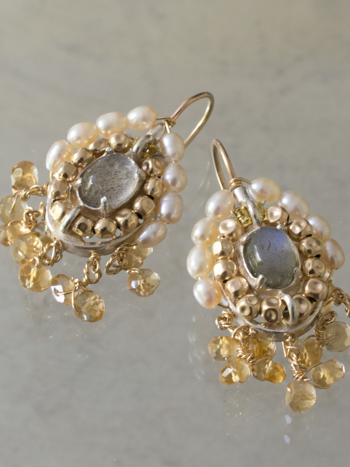 earrings Ethnic labradorite, citrine and pearls