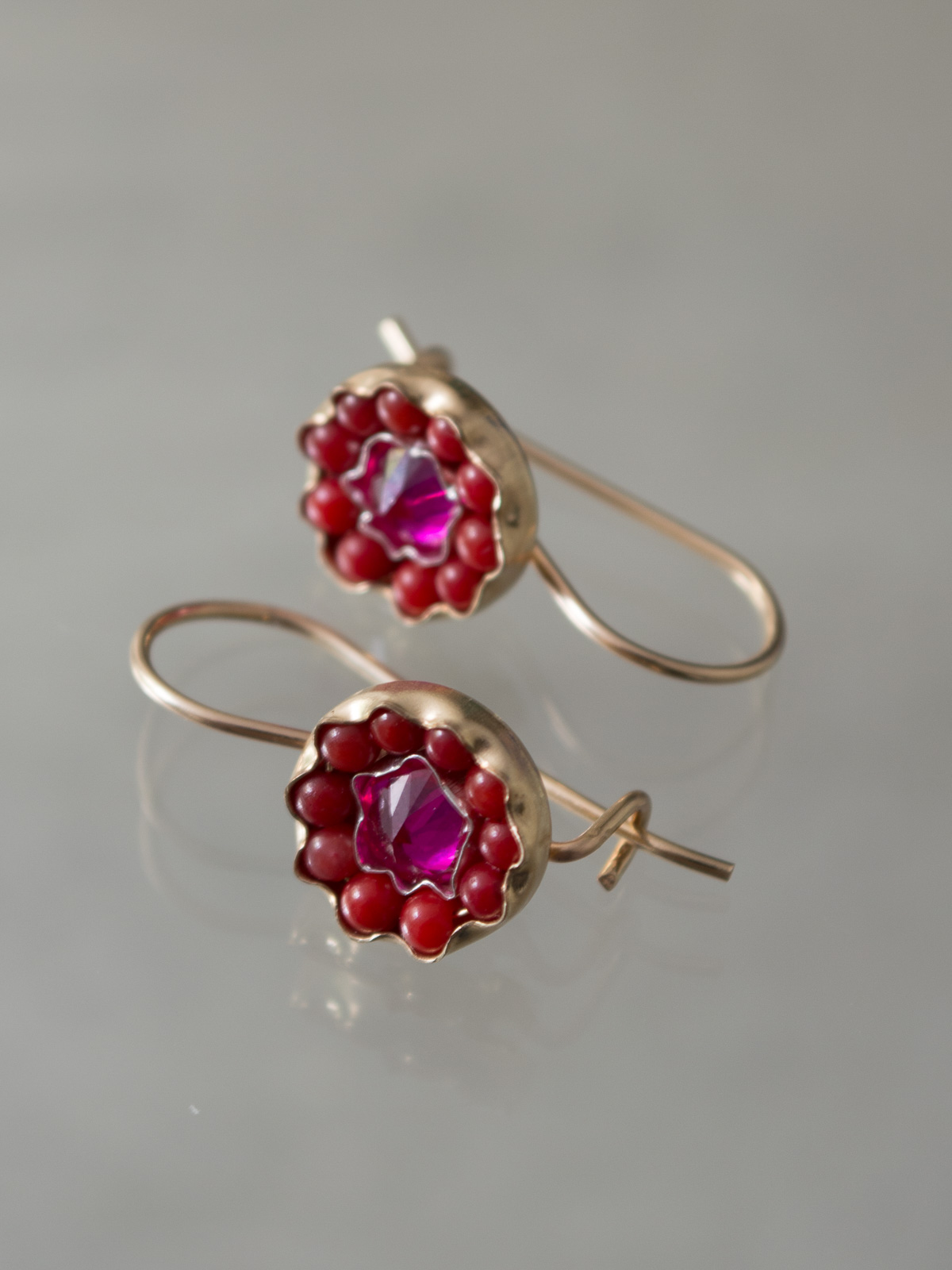 earrings Daisy fuchsia crystal, red coral
