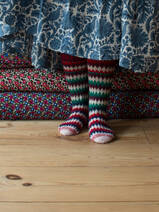 hand knitted socks red and green