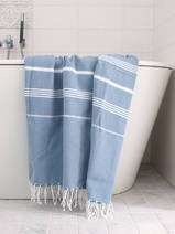 hammam towel jeans blue/white