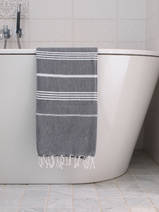 hammam towel dark grey/white