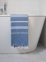 hammam towel marine blue/white