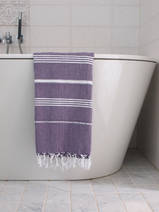 hammam towel dark purple/white
