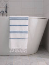 hammam towel white/jeans blue