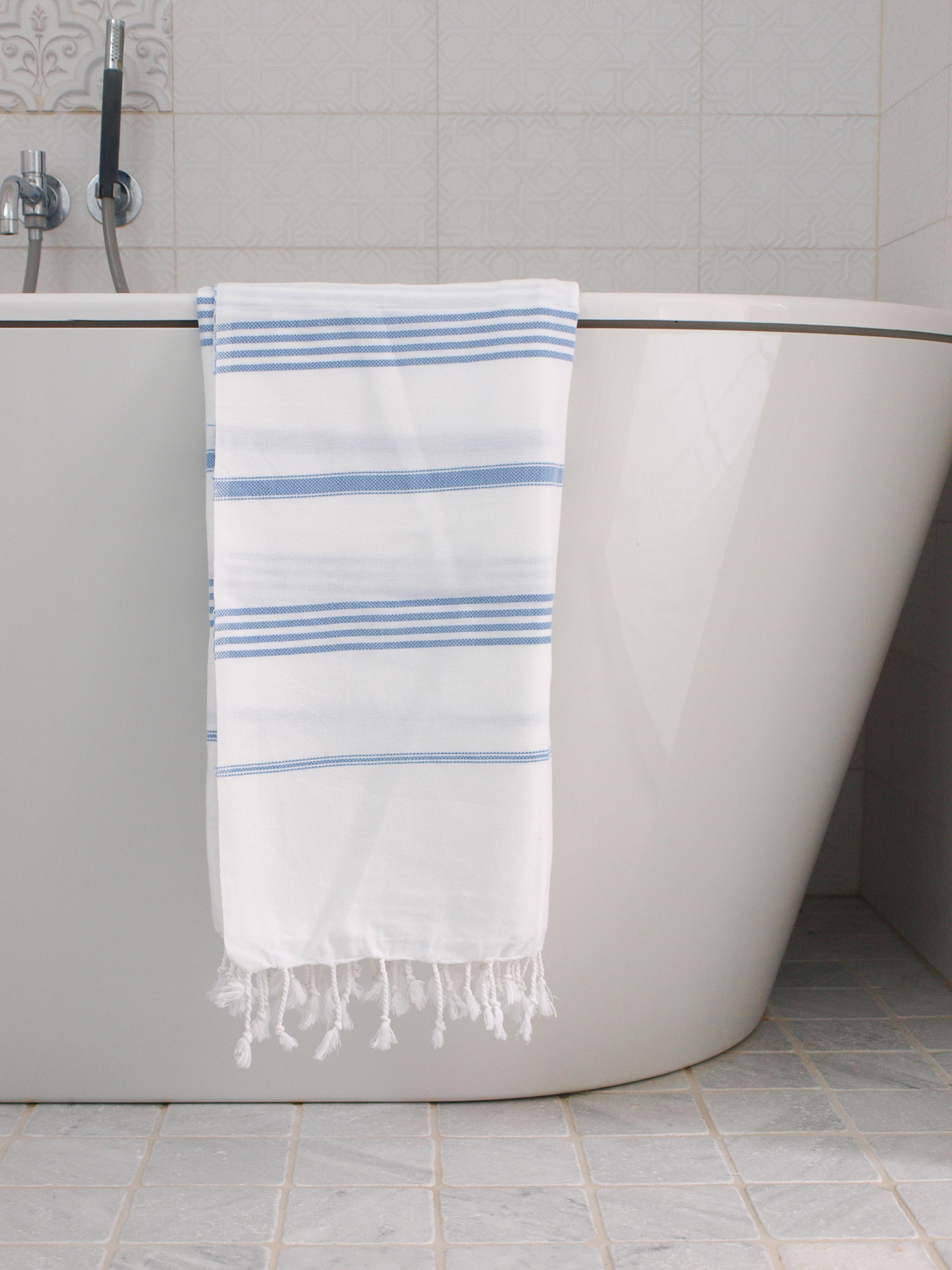 hammam towel white/blue