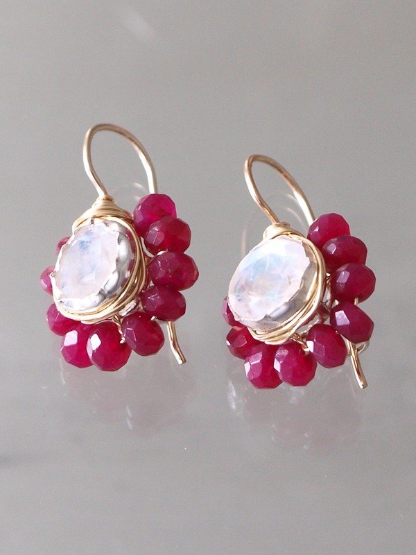 earrings Flower moonstone and ruby