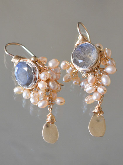 earrings Goddess pink pearls and labradorite