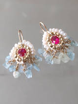 earrings Ethnic fuchsia crystal, aquamarine