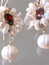 earrrings Flower red crystal and pearls