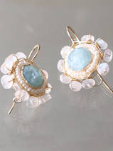earrings Mandala aquamarine
