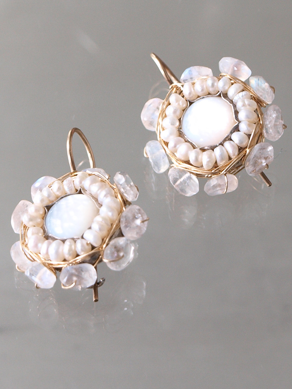 earrings Mandala mother of pearl, moonstone
