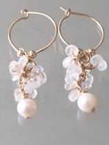 earrings Cluster moonstone and pearls