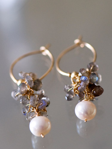 earrings Cluster labradorite and pearl