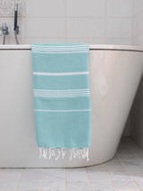 hammam towel dark sea green/white