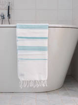 hammam towel white/dark sea green