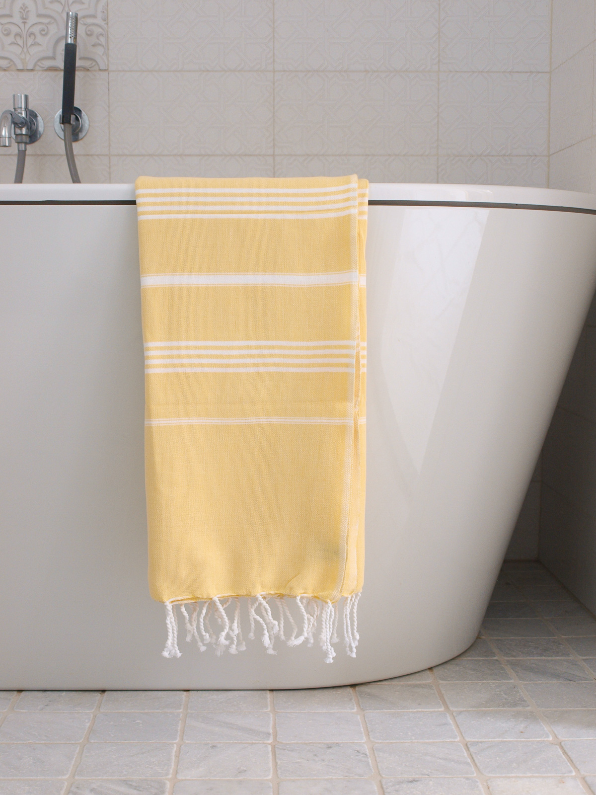 hammam towel yellow/white