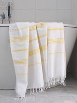 hammam towel white/yellow