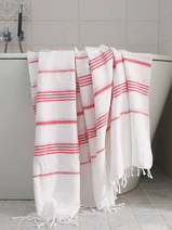 hammam towel white/ruby red
