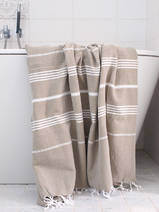 hammam towel olive green/white