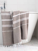 hammam towel dark olive green/white