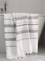 hammam towel white/dark olive green