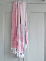 hammam towel with terry cloth, fuchsia