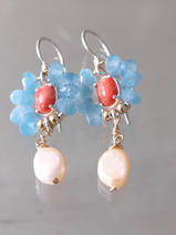 earrings Flower coral, aqua quartz and pearl