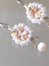 earrings Flower pearls and light orange crystal